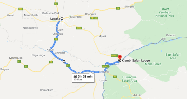 Map of 3-Day Zambezi Canoe Adventure